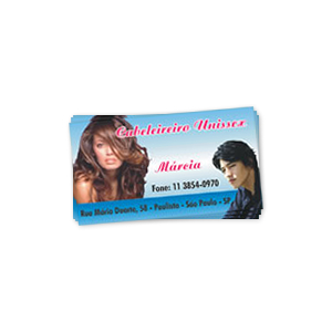 Cartão de visita com verniz total frente
